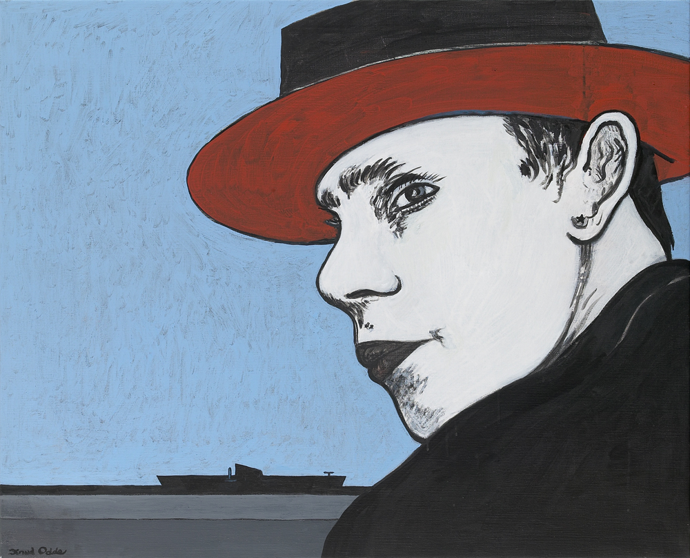 Canvas_Beuys with U-boat_70x82cm_Acrylic on canvas_2004