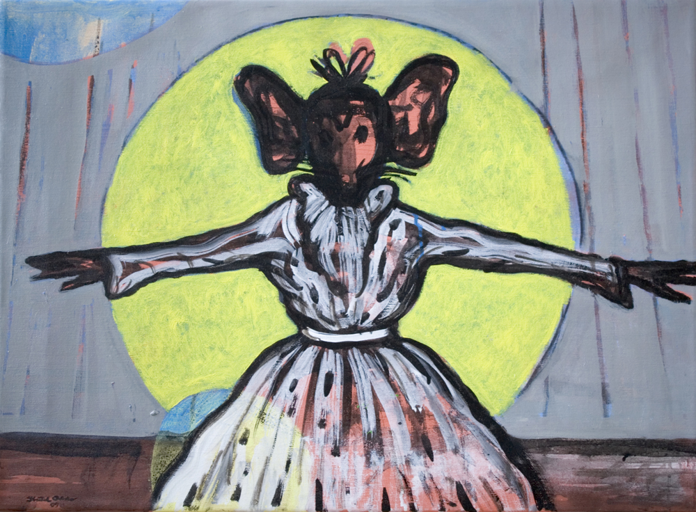 Canvas_Josephine – the singing mouse_55x75cm_Oil, acrylic on canvas_2010