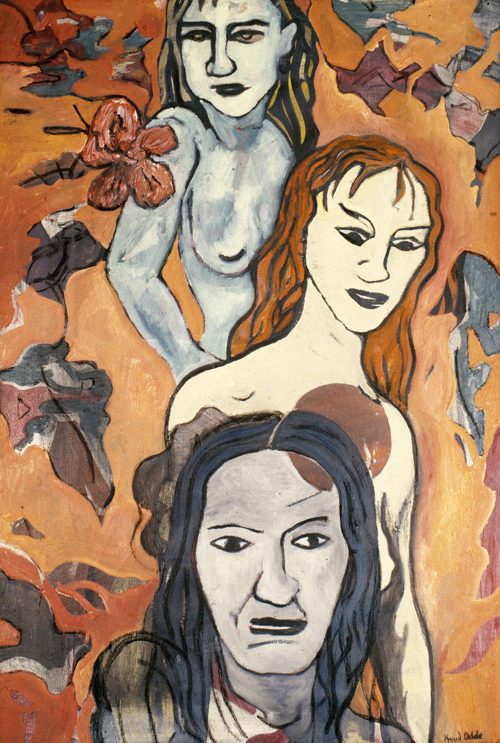 Canvas_Three Women (after Pettibon)_60x40cm_Oil on canvas_1989