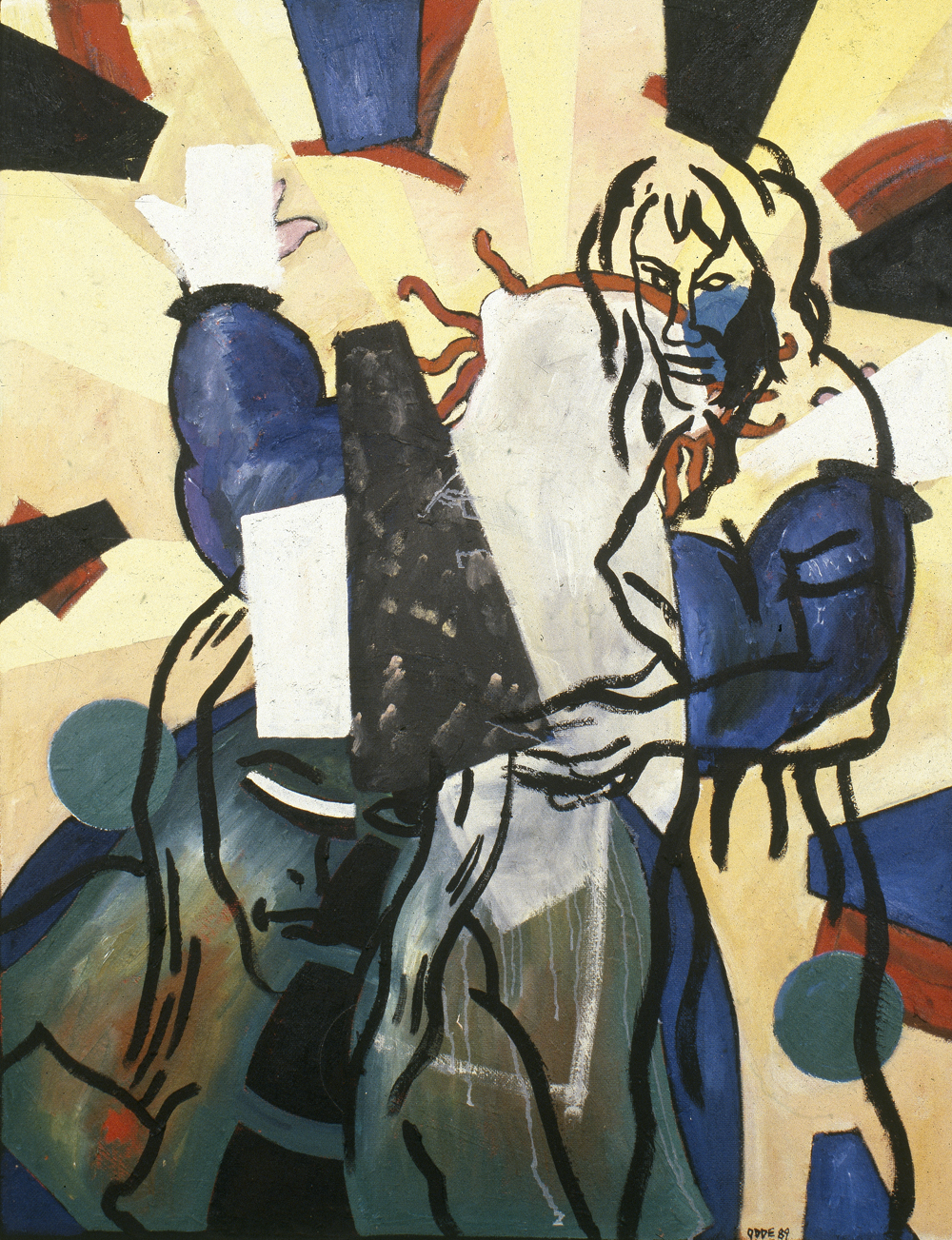 Canvas_(Title unknown) (after Pettibon)_Oil on masonite_Oil on canvas_1990
