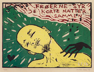 Graphics_Frøerne-syr_45x64cm_Linocut_2009