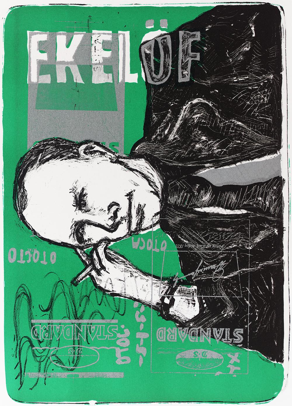 Graphics_Gunnar Ekelöf (grøn)_46,5x63cm_Litograph_2001