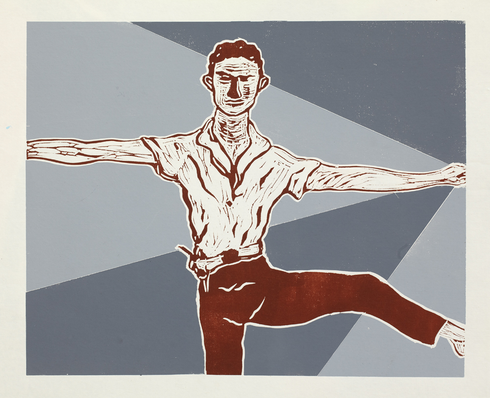 Graphics_Merce Cunningham_50x62cm_Linocut_2011