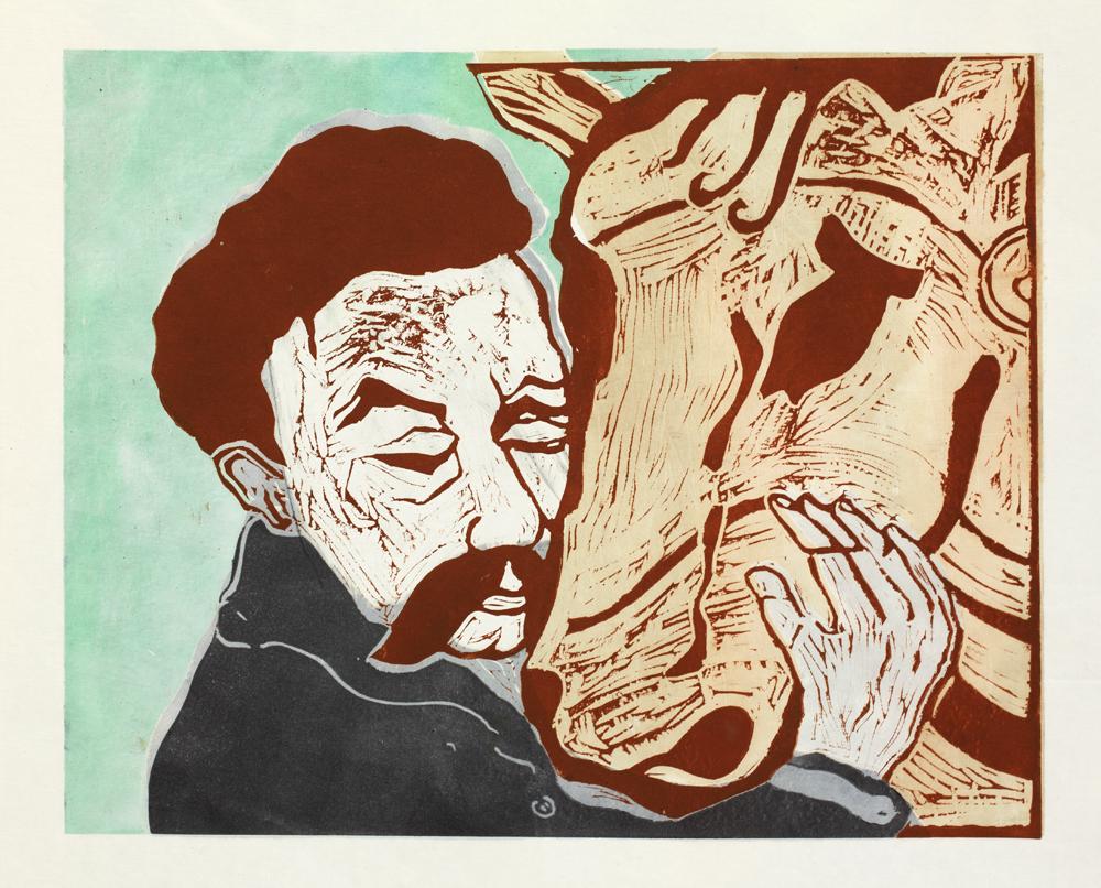 Graphics_Nietzsche og hest_50x70cm_Linocut_2011