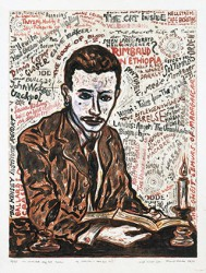 Graphics_Rilke-(lister-til-Søren-H.)_76x54cm_Lithograph-w.-watercolour_1997