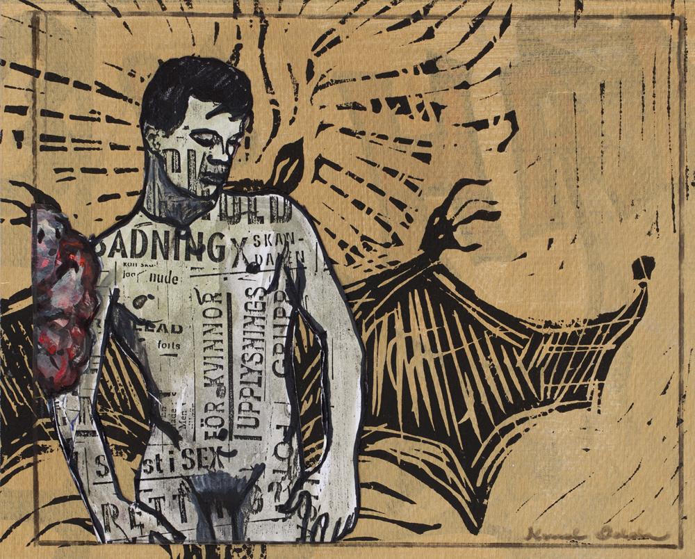 Paper_Bat-boy_18,5x23cm_Acrylic, xerox, lino-cut_2013