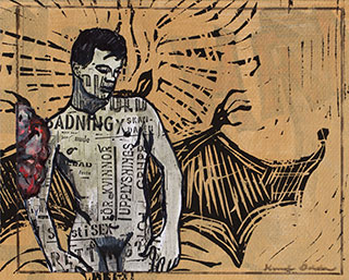 Paper_Bat-boy_18,5x23cm_Acrylic,-xerox,-lino-cut_2013