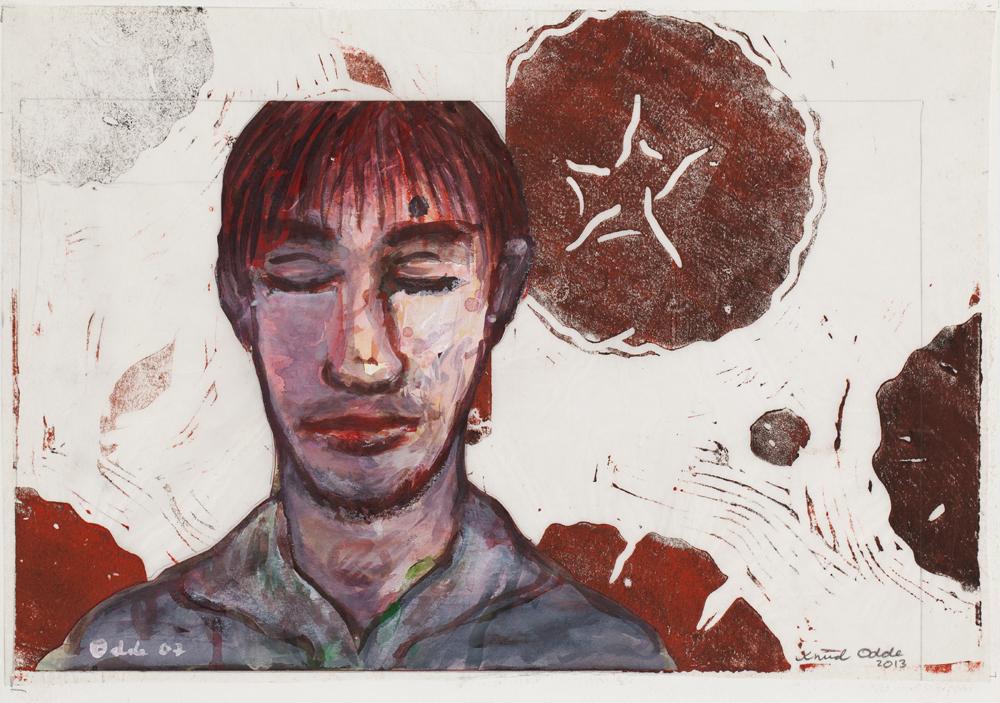 Paper_Blumenfeld (roses)_29,5x42cm_Watercolour, linocut_2013