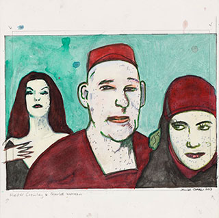 Paper_Crowley-with-scarlet-women_27x30cm_Gouache_2012
