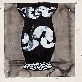 Paper_Dekoreret-vase_30x30cm_Blæk,-acryl_2005