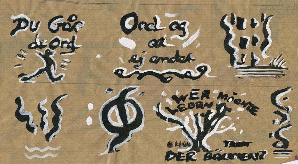 Paper_Du går de ord (Björling)_20x45cm_Ink, gouache, wrapping paper_2006