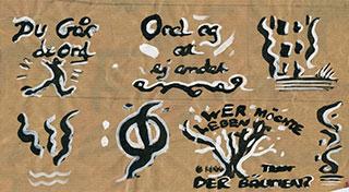 Paper_Du-går-de-ord-(Björling)_20x45cm_Ink,-gouache,-wrapping-paper_2006