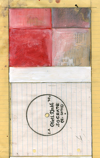 "Paper_Grete-Trakl-plays-""Socrate""_21x33,5cm_Gouache,-speedmarker_2006"