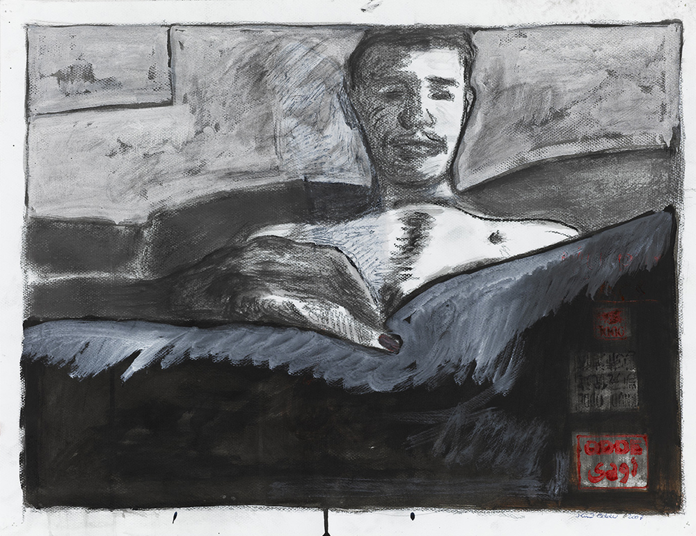 Paper_In Bed with Benny_50x65cm_Grafitto, acrylic, stamp_2008