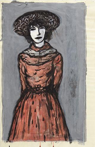 Paper_Kvinde-i-rød-dragt_75x48cm_Ink,-acrylic-on-paper_2006