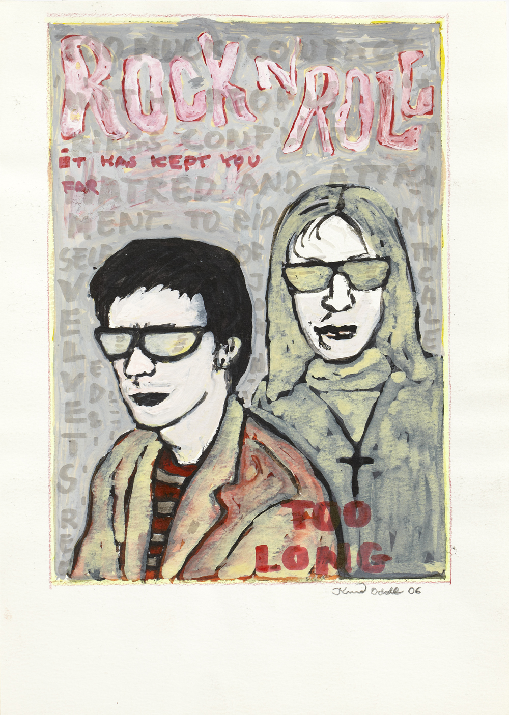 Paper_Lou Reed with John Call_29,5x21cm_Gouache, pen_2006