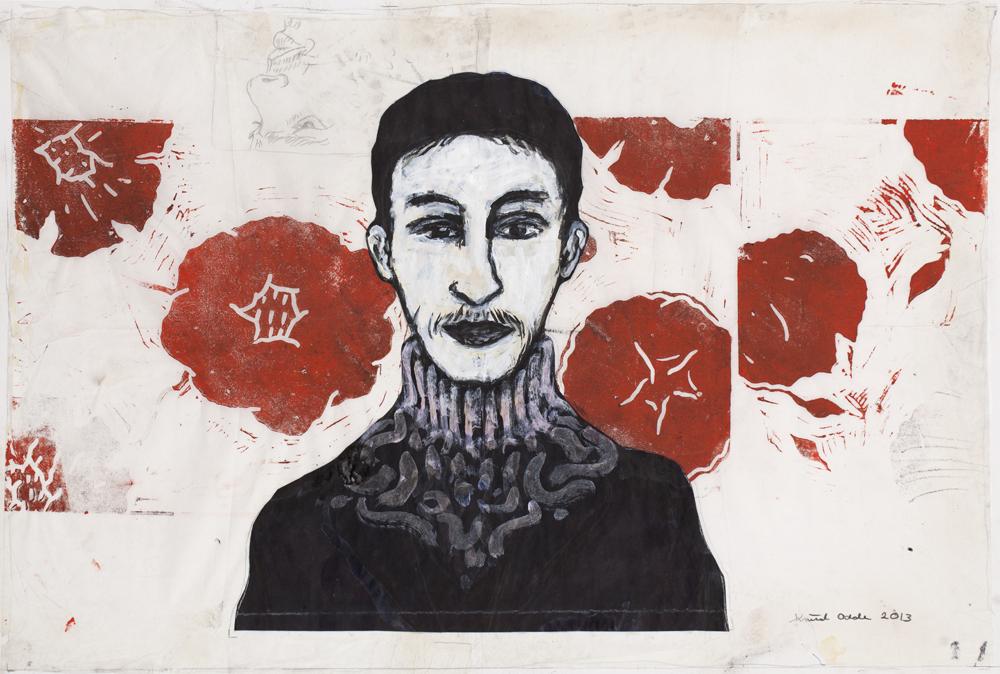 Paper_Rosegarden_61x86,5cm_Ink, acrylic, linocut_2013