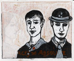 Paper_The-Trio_46x60cm_Ink,-acrylic,-red-crayon_2008