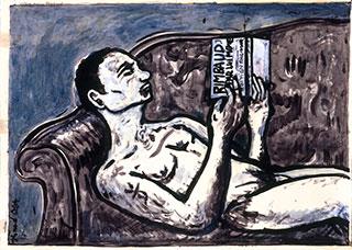 Paper_Verlaine-på-sofaen_50x70cm_Acrylic_1997