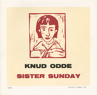 "Vinyls_Sister-Sunday_10""-vinyl-record,-27x27cm_Linocut-on-cardboard-sleeve_2009"