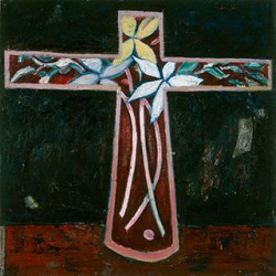 Canvas_Kors-med-blomster_60x60cm_Oil-on-canvas_1987