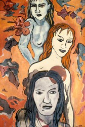 Canvas_Three-Women-(after-Pettibon)_60x40cm_Oil-on-canvas_1989